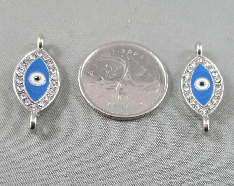 Silver Tone Evil Eye Links with Enamel and Rhinestones 2pcs (0172*)