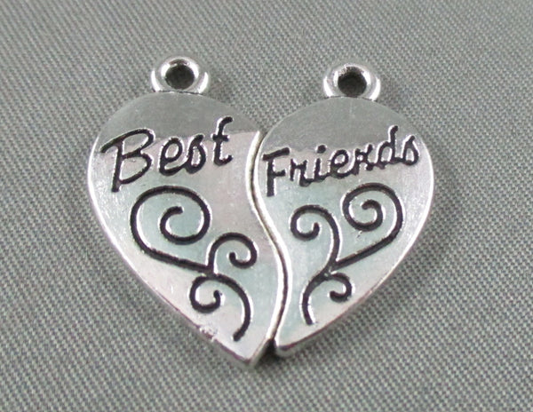 Best Friends Split Charms Silver Tone 4 pairs 12x22mm (0175)