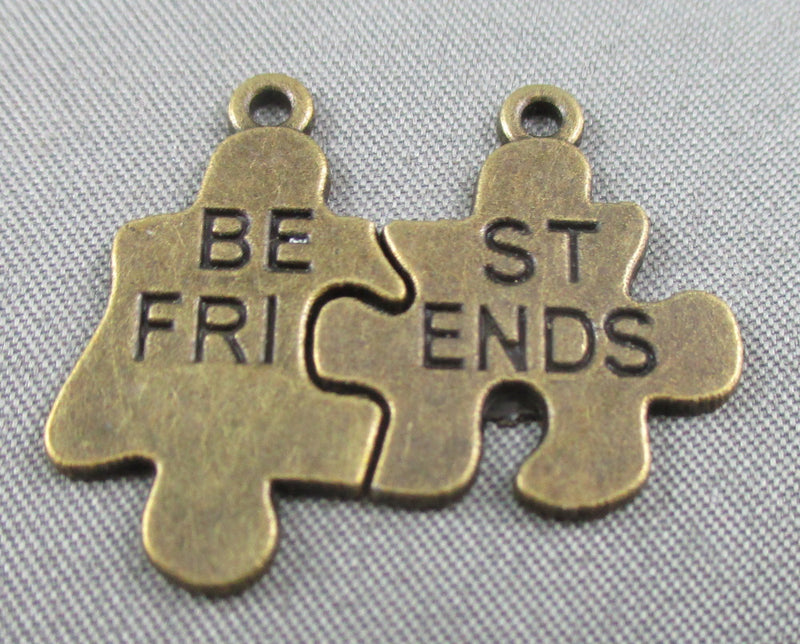 Best Friends Split Charms Antique Bronze Tone 8 pairs (0176)