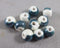 Dark Cyan Two-Tone Porcelain Beads 9mm Round 10pcs (0782)