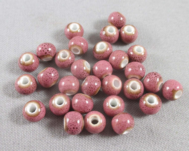 Pale Violet Antique Glazed Porcelain Beads 6mm Round 30pcs (0772)