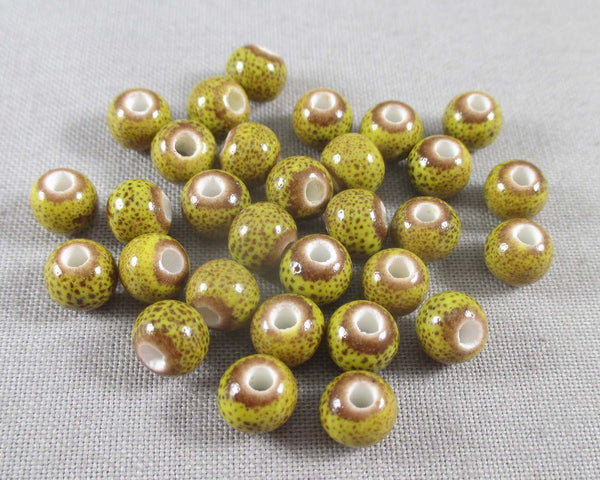 Golden Rod Antique Glazed Porcelain Beads 6mm Round 30pcs (0773)