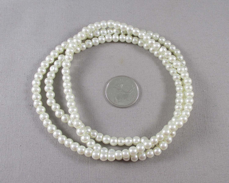 "Cream Pearl 6mm Beads (Glass) 31"" Strand (1199)"
