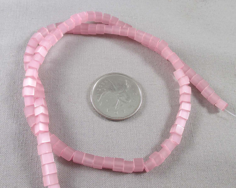 "Pink Cat's Eye Square Beads 4mm 16"" Strand (0488)"