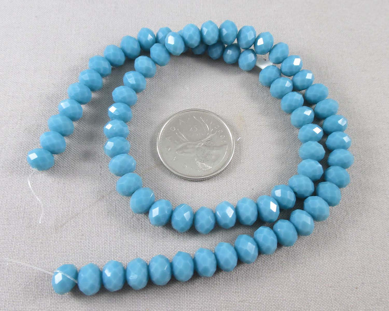 Steel Blue Faceted Rondelle Glass Beads 8x6mm (December) (1138)