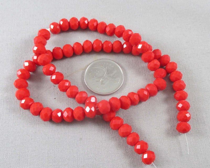 Red Faceted Abacus Glass Beads 8x6mm (July) (1143)