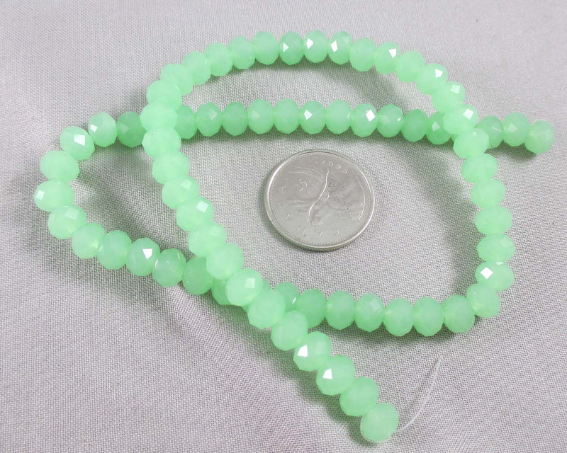 Light Green Faceted Rondelle Glass Beads 8x6mm (August) (1142)