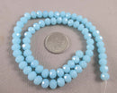 Sky Blue Faceted Rondelle Glass Beads 8x6mm (March) (1147)