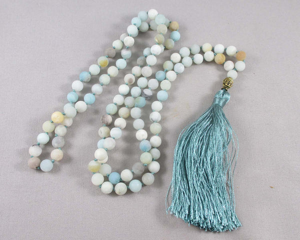 hand knotted amazonite mala necklace