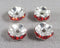 Red Rhinestone Rondelle Spacer Beads 4pcs (0693-2)