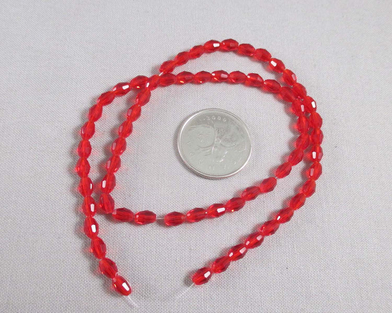 Red Faceted Oval Glass Beads 4x6mm (1539)