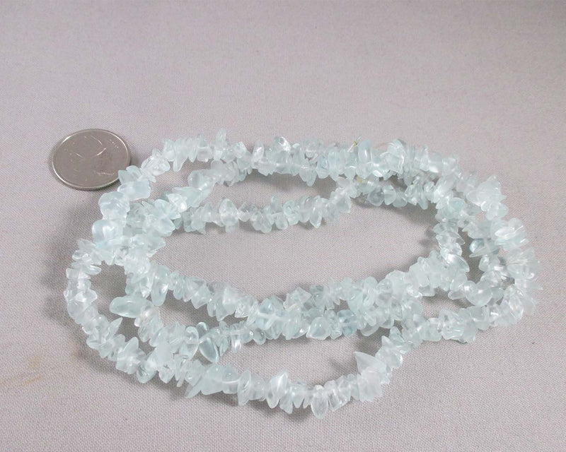 "Aqua Blue Glass Beads Chip Strand 35"" (1461)"
