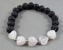 rose quartz hearts bracelet