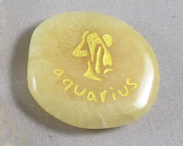 Aquarius Zodiac Palm Stone Calcite (Jan20-Feb18) Z125