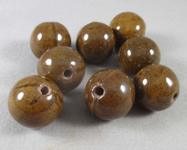 Brown Porcelain Beads 21mm Round 8pcs (A183)