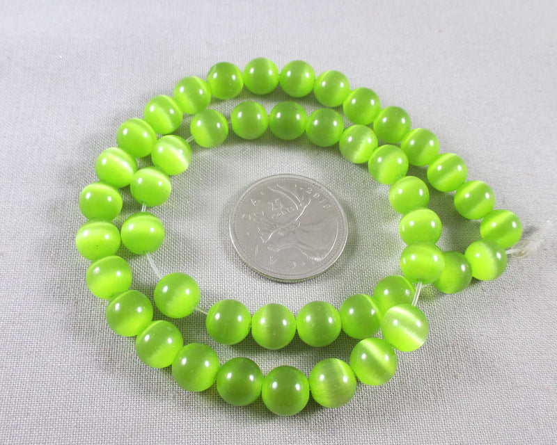 "Light Green Cat's Eye Round Beads 8mm 15"" Strand (1492)"