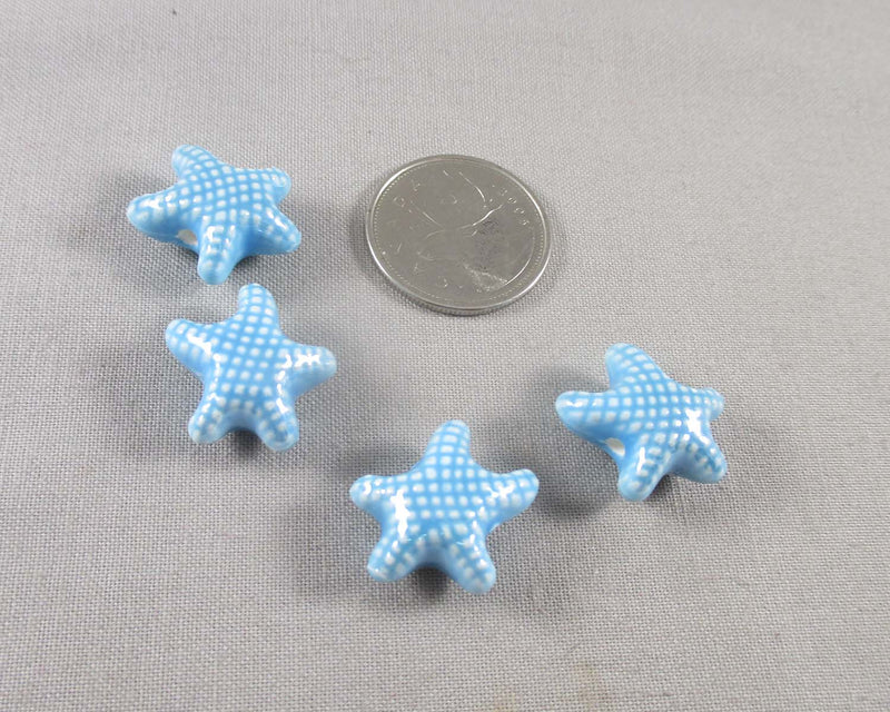 Starfish Porcelain Beads Light Blue 4pcs (1048)