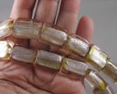 Gold Lampwork Rectangle Glass Beads (Z170)