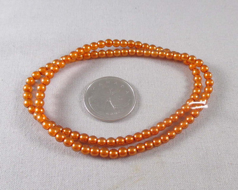Preciosa Czech Glass 4mm Round Beads (Orange) (Z187)