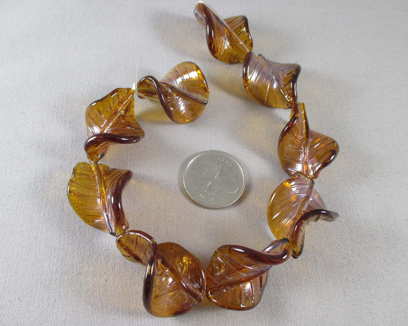 Brown Leaf Glass Beads 9pcs (Z197)