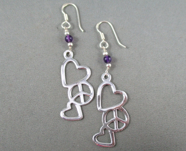 hearts and peace earrings