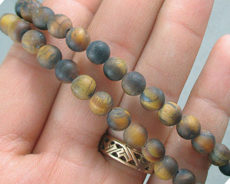 "Gold Tiger Eye Beads Round Frosted 6mm 15"" Strand (1070)"