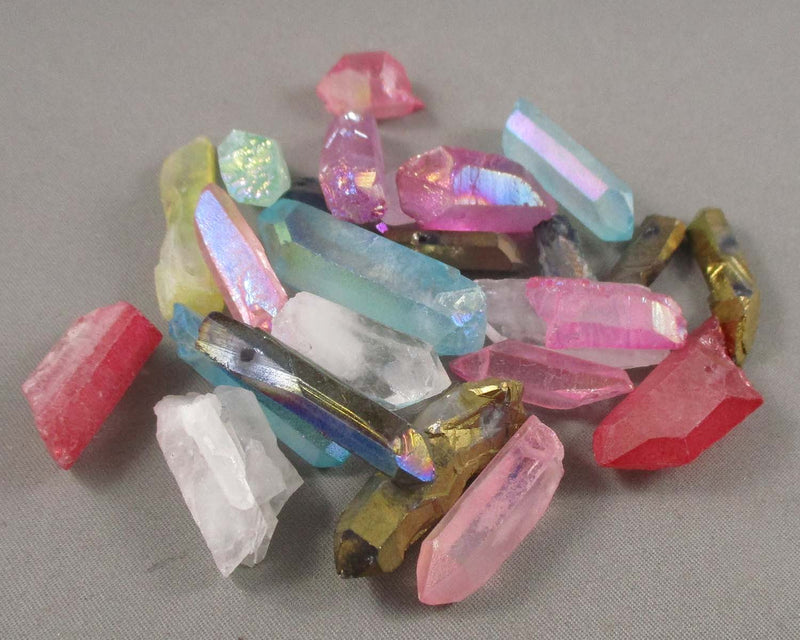 Electroplated Quartz Points (Drilled) Mixed Color 5pcs (1243)