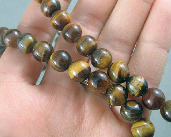 Gold Tiger Eye Bead Strand Round Various Sizes