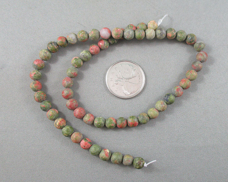 "Unakite Beads Frosted Round 6mm 15"" Strand (1439)"