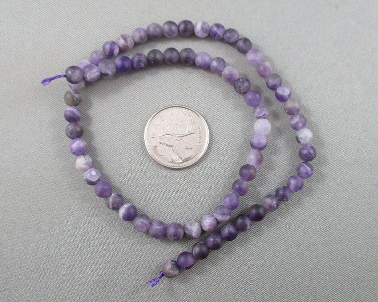 Amethyst Bead Strand Frosted Round Various Sizes