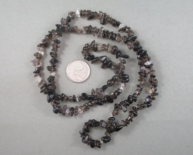 "Smoky Quartz Beads Chip Strand 35"" Med (2162)"