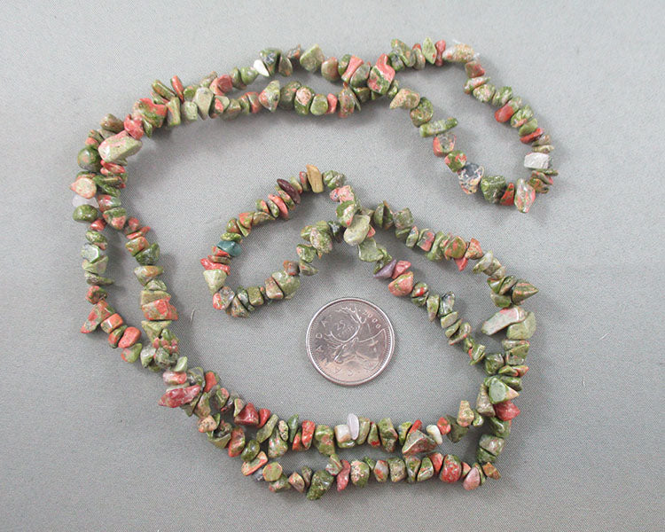 "Unakite Beads Chip Strand 34"" Med (2165)"