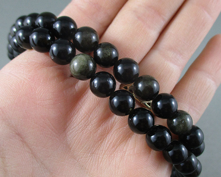 Gold Sheen Obsidian Bead Strand Round Various Sizes