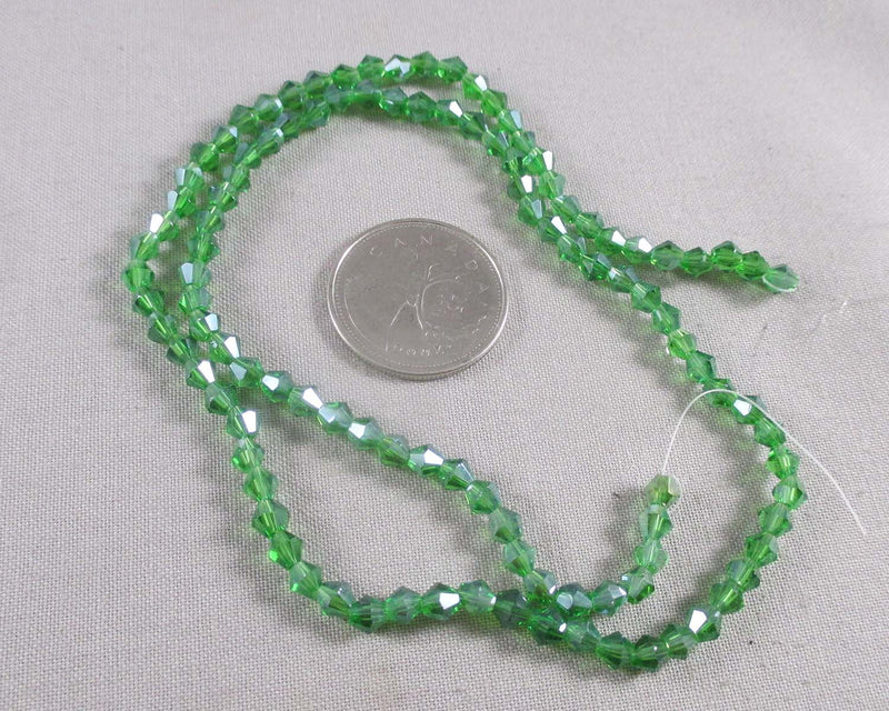 Green Bicone Glass Beads 4x4mm (1151)