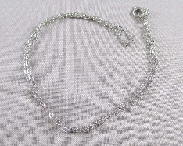 Silver Tone Brass Cable Chain Necklace 18""