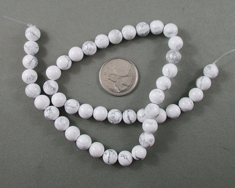 White Howlite Bead Strand Round Various Sizes