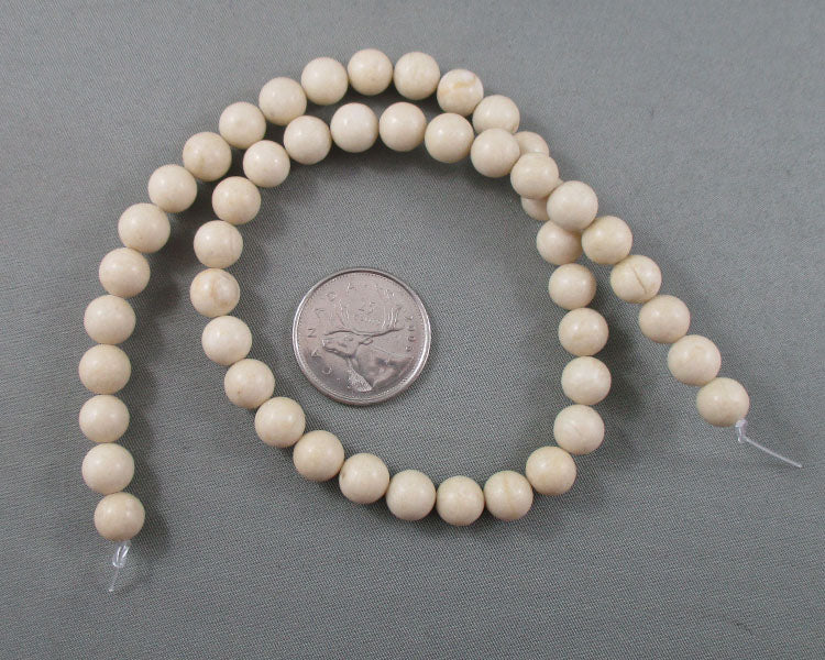 "White Fossil Beads Round 8mm 15"" Strand (2086)"