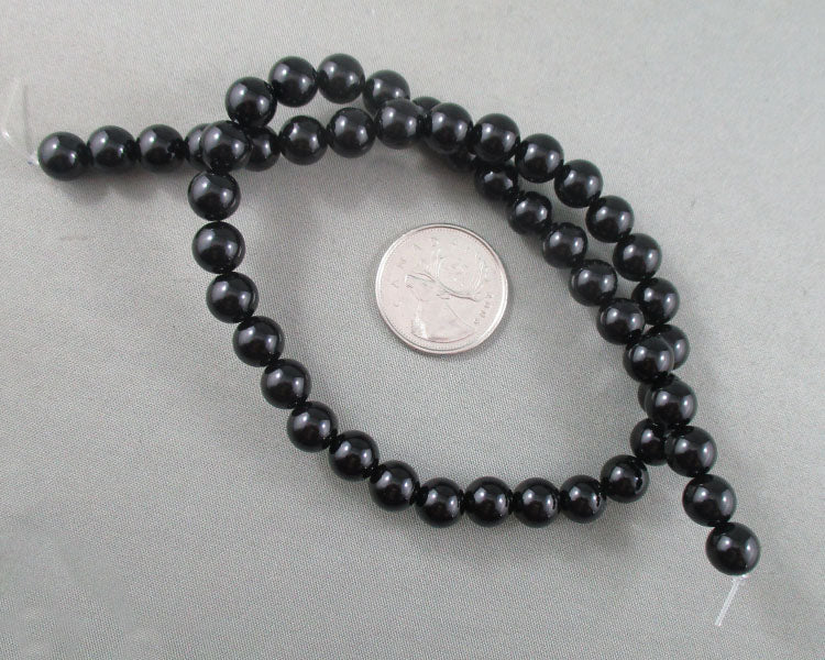 "Black Agate Beads Round 8mm 15.5"" Strand (1329)"