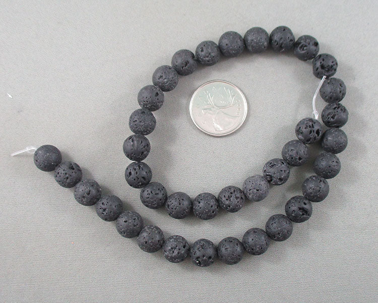 Black Lava Beads Round Waxed Various Sizes