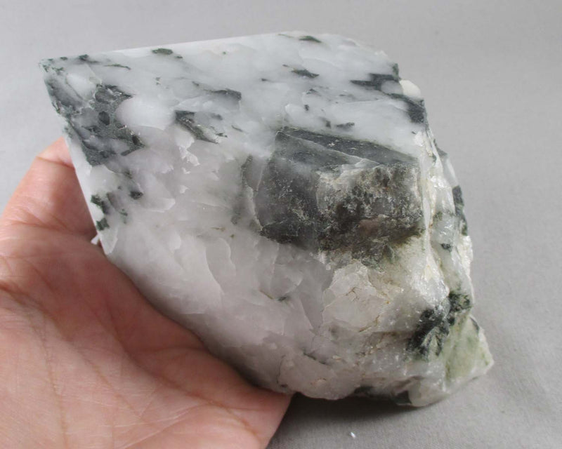 Large Chlorite in Quartz Crystal Point 1pc E019-2