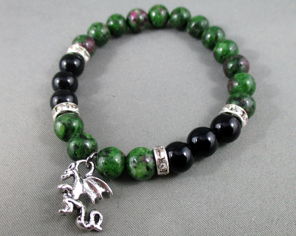 Black Onyx / Ruby Zoisite Bracelet with Dragon Charm 1pc T518