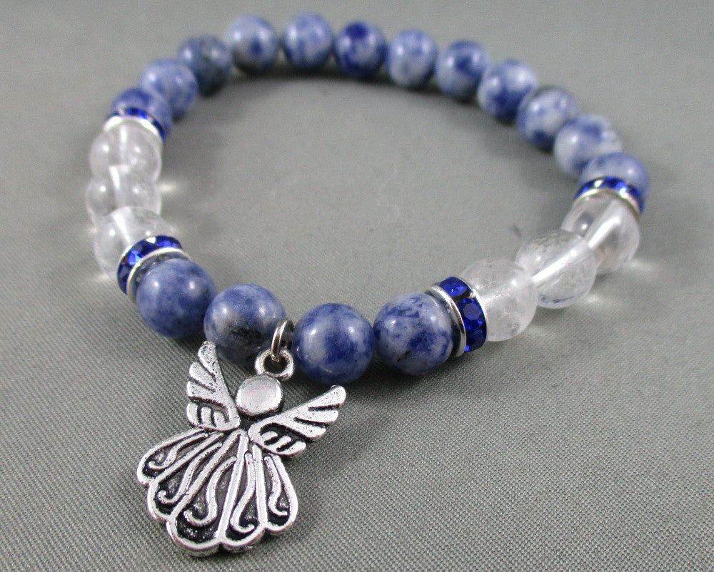 Quartz / Sodalite Bracelet with Angel Wings Charm 1pc T525
