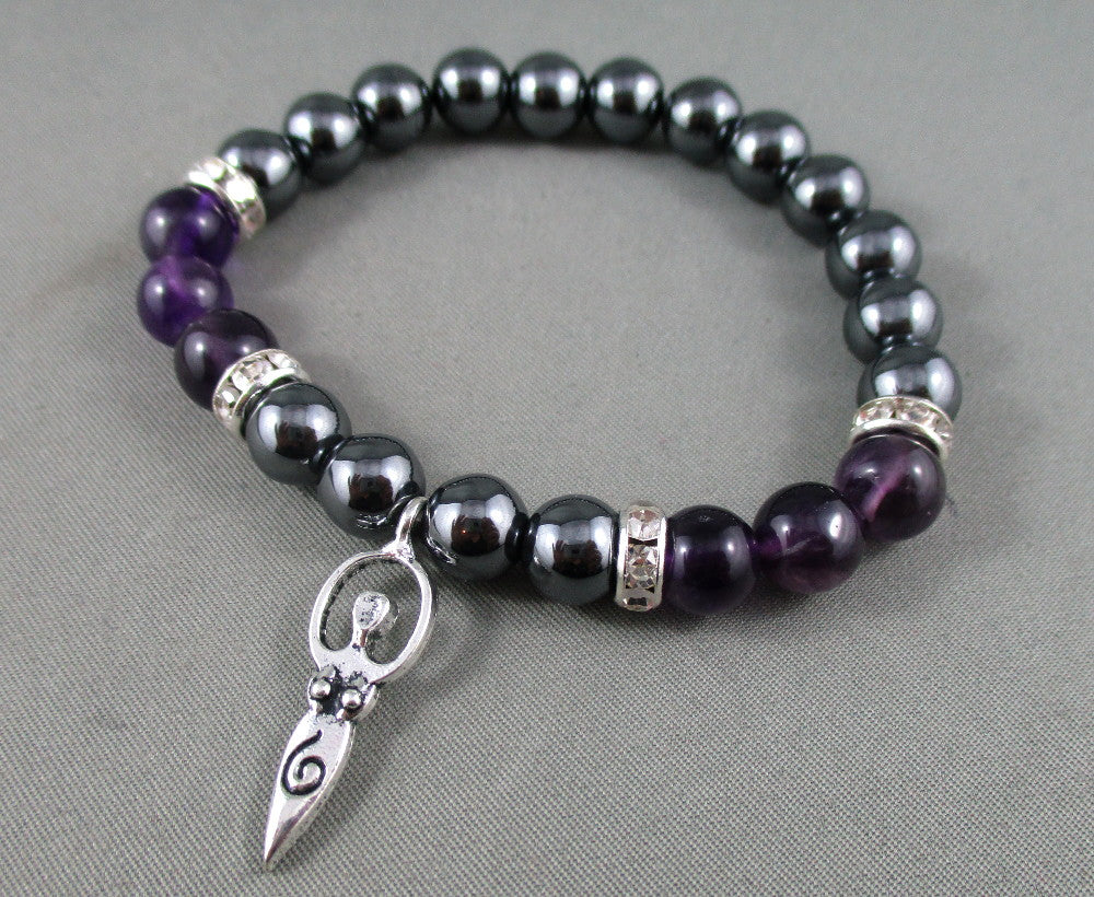 amethyst and hematite bracelet with goddess