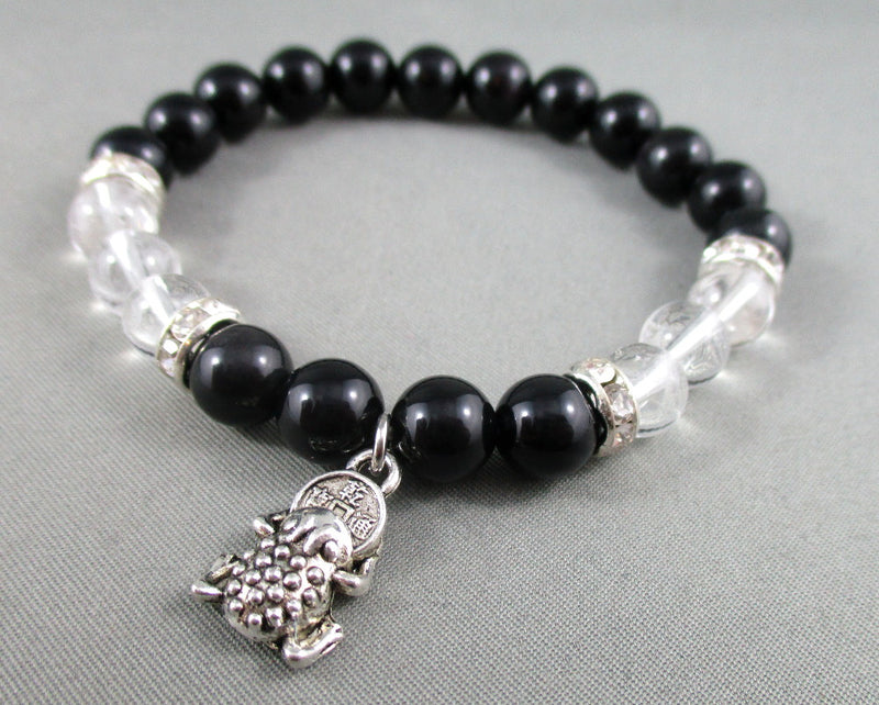 obsidian and quartz bracelet with frog