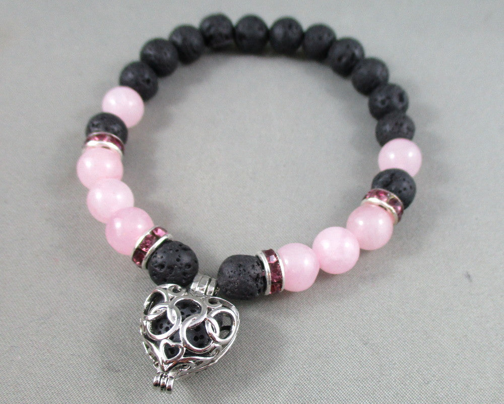 rose quartz and lava stone diffuser bracelet
