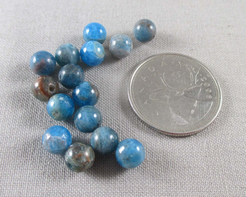 Blue Apatite Beads Round Various Sizes