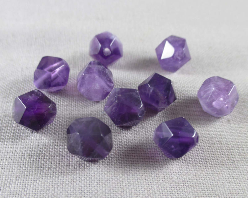 Amethyst Beads Star Cut Faceted 8mm 10pcs (1237)