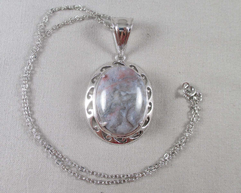 Indian Agate Stone Pendant Necklace 1pc (1247)