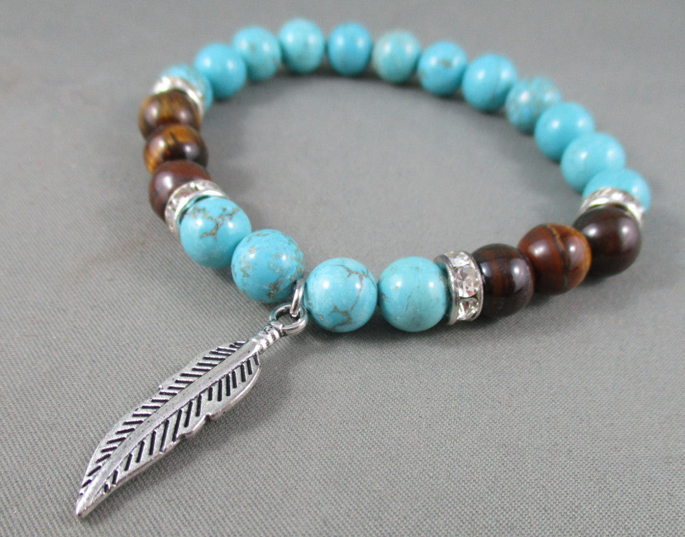 Howlite / Tiger Eye Bracelet with Feather Charm 1pc T533