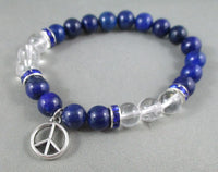 lapis and quartz bracelet with peace sign
